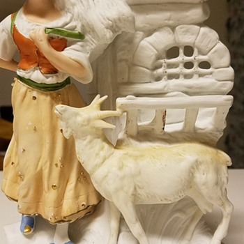 1907 Girl and Her Goat Porcelain