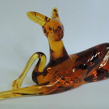 Pilgrim Hand Blown Glass - Amber Colored Dear - Animals