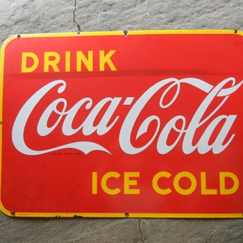 1947 Porcelain Coca Cola sign - Coca-Cola