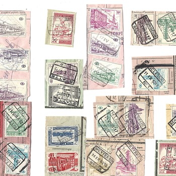 Belgium Documents with cancelled stamps and  several hundred cancelled stamps cut from similiar documents - Stamps
