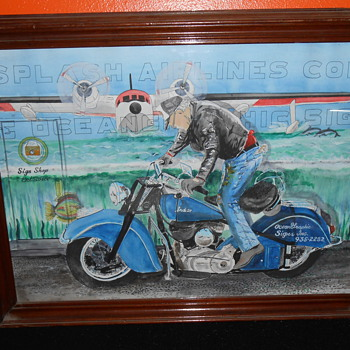 vintage indian motocycle water color - Motorcycles