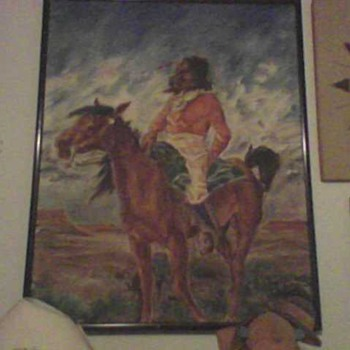 FOLK ART NATIVE AMERICAN OIL PAINTING - Folk Art
