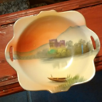 Noritake made in Japan double handled pin dish, possibly transfer printed and no why of knowing otherwise. - China and Dinnerware