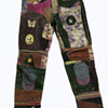 Worn at WOODSTOCK in 1969. Hippy Folk Art real tye dye leather on Lee Jeans