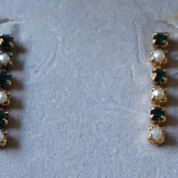 Vintage Pearl & Green Rhinestone Earrings - Costume Jewelry