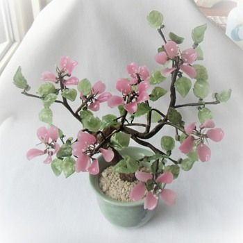 Those Fun Handmade Chinese Glass Flower Blossoms On Branches In Pot Vintage Mid Late 20th - Asian