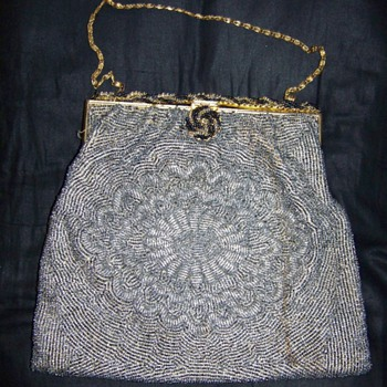 Hand Sewn French Beaded Purse/Gold Chain Handle - Bags