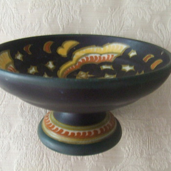 Gouda candy dish-does anyone who knows about Gouda pottery, have any information about this pattern?   - Pottery