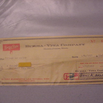Burma Shave  Rental Check and Letter - Paper