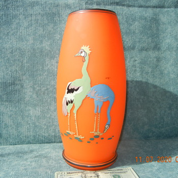 Large Czechoslovakian Kralik? Orange Glass Vase with Two Hand Enameled Crane Birds  - Art Glass