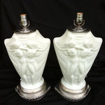 Art Deco Nude Girls Lamp Pair Silverplate Base