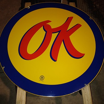 my 36'' inch Ok' porcelain Chevrolet sign  - Signs