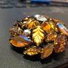 C-Clasp Molded - Glass BROOCH in fall colors of  brown & amber