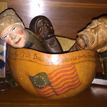 America The Beautiful Art Gourd  - Folk Art