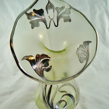 Loetz Olympia jack-in-the-pulpit vase w/silver overlay - Art Glass