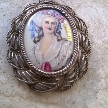 Hand Painted Limoges Porcelain & 925 Silver Pendant - Fine Jewelry