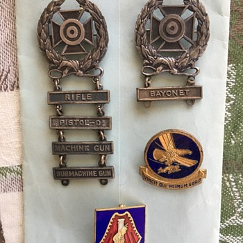 Wife's grandfathers ww2 pin does can anyone OD? - Medals Pins and Badges