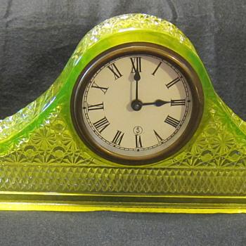McKee Vaseline Tambour Clock  - Glassware