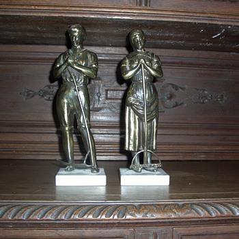 Two workers, metal statues - Figurines