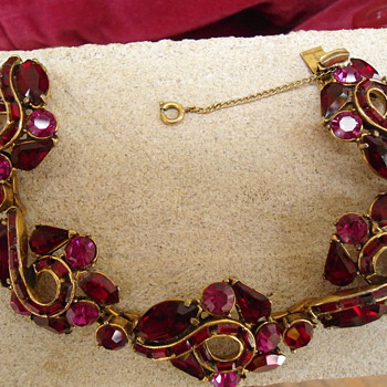 ruby red and pink prong set rhinestone bracelet unmarked can you id maker? - Costume Jewelry