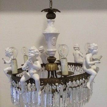 glass chandelier with cherubs - Lamps