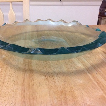 teal green candy dish  - Glassware