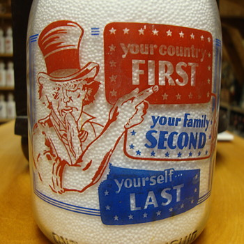 M. G. Nevious red/blue quart war slogan milk bottle........ - Bottles