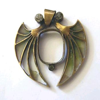 Antique broken plique à jour pendant, kyratised. - Art Nouveau