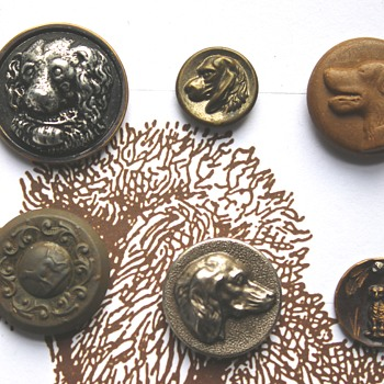 Antique Buttons with Dogs and Other Animals - Sewing