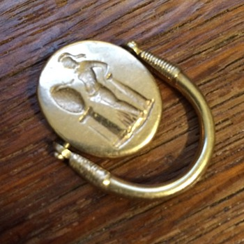 Victorian or Art Deco? solid gold fob with spinning gold cab and relief - Pocket Watches
