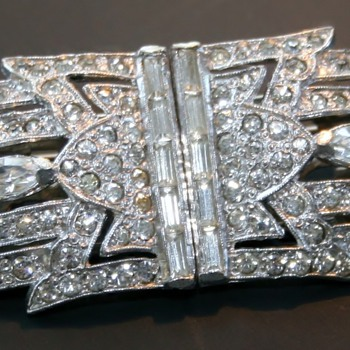 Art Deco Dress Clip Duette Rhinestone Costume Jewelry - Costume Jewelry
