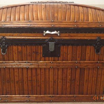Restored Martin Maier Antique Dome Slat Trunk - Furniture