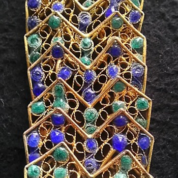 Italian Blue & Green Enamel Filigree Bracelet