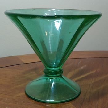 Large Uranium Glass Sherbet Bowl - Glassware