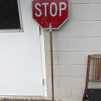 flagger's double sided SLOW / STOP sign - Signs