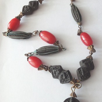 Vintage Ethnic (Tunesia)Bakelite Necklace combined unknown material - Costume Jewelry