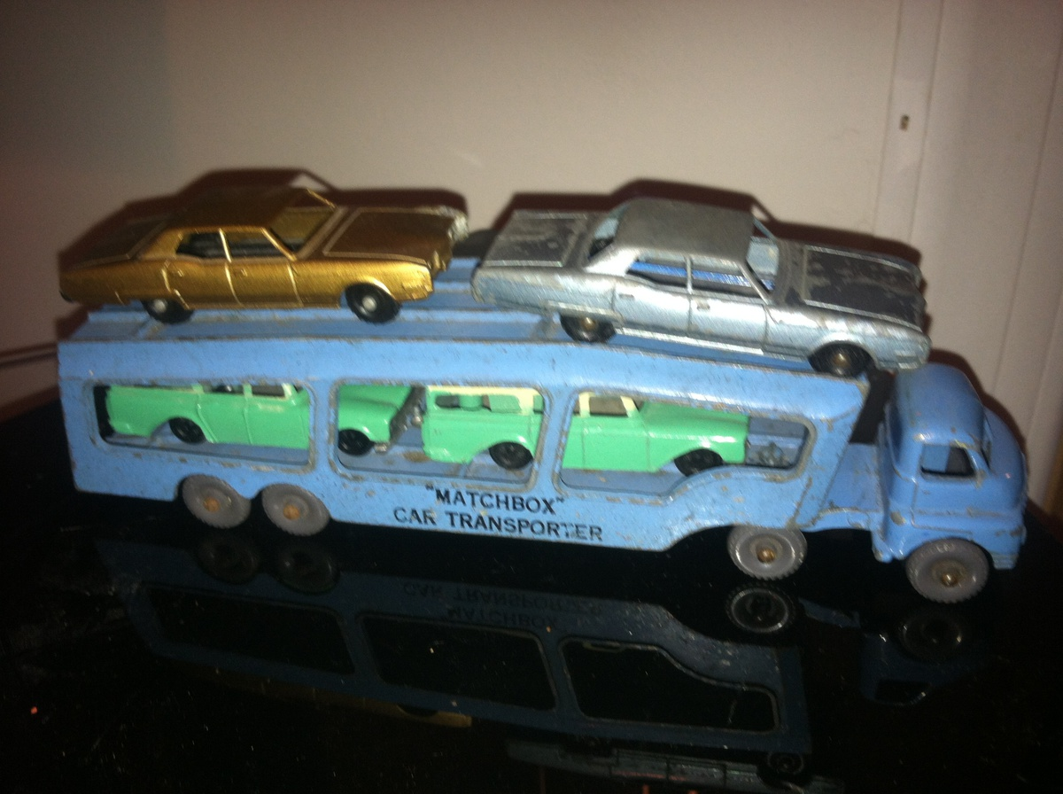 Rare Tootsie Toy Oldsmobile cars on a Matchbox Moko auto carrier ...
