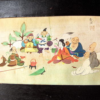 Antique Japanese Painting on Silk - Seven Lucky Gods of Good Fortune - Asian
