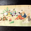 Antique Japanese Painting on Silk - Seven Lucky Gods of Good Fortune