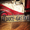 "License plate topper ""REDUCE The GAS TAX"" 1920's-1930's"