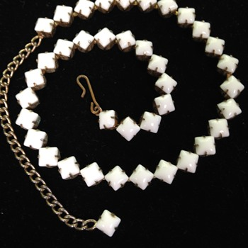 narrow Milk Glass choker necklace.  - Costume Jewelry