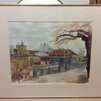Water Colour Vauxhall Opel factory, given to managing director help signature - Fine Art