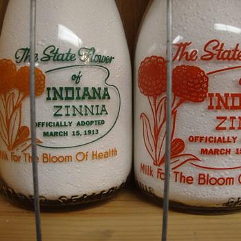 Milk Bottles With State Flower Designs....... - Bottles