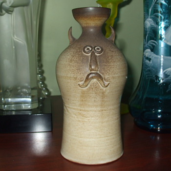 Mustached, Googley-eyed & Horney Fellow-Pottery Vase/Bottle by EVA LAPKA  - Pottery