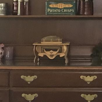 antique vtg inlaid Folk tramp art sewing box - Folk Art