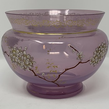 Early Loetz Heliotrope Enameled Glass Vase, new DEK - III/125, ca. 1890s - Art Glass