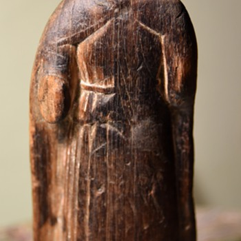Very Old Wooden Carving of a Nun - Folk Art