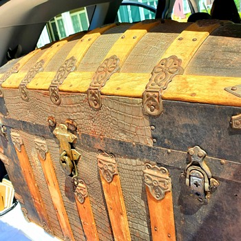 RARE Antique Martin Maier Alligator Tin Humpback Steamer Trunk - Furniture