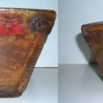 Antique Asian Wood Box, Iron Straps & Divided Center - Asian