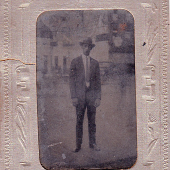Tintype Photo of a Tall Man & Two Men Arm in Arm with a Basket - Photographs